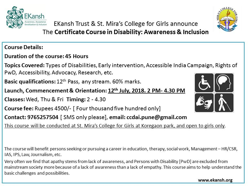 Lack Of College Disability Information >> Current Projects Ekansh Trust Pune